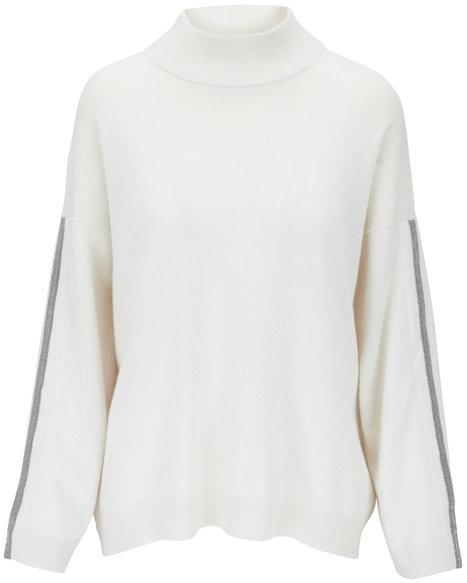 Brunello Cucinelli Warm White Cashmere Mockneck Sweater