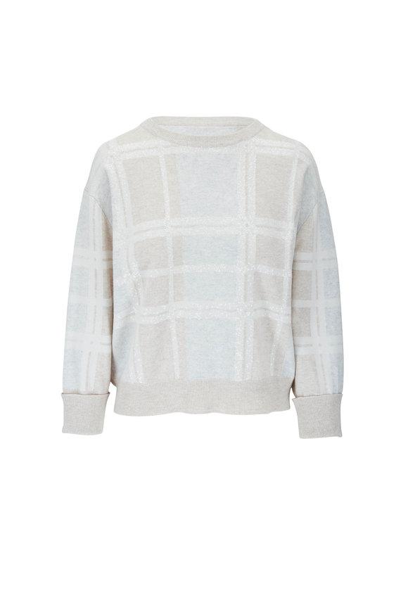 Brunello Cucinelli Beige Wool, Cashmere & Silk Plaid Crewneck Top