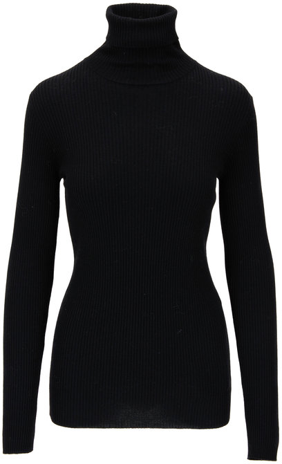 Brunello Cucinelli Black Wool & Cashmere Ribbed Turtleneck