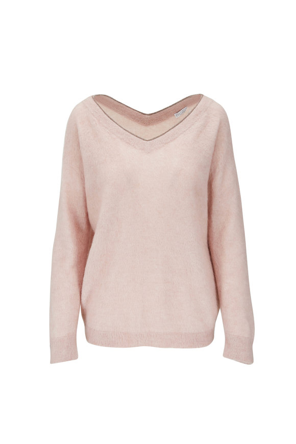 Brunello Cucinelli Pink Mohair, Wool & Cashmere Double V-Neck Sweater