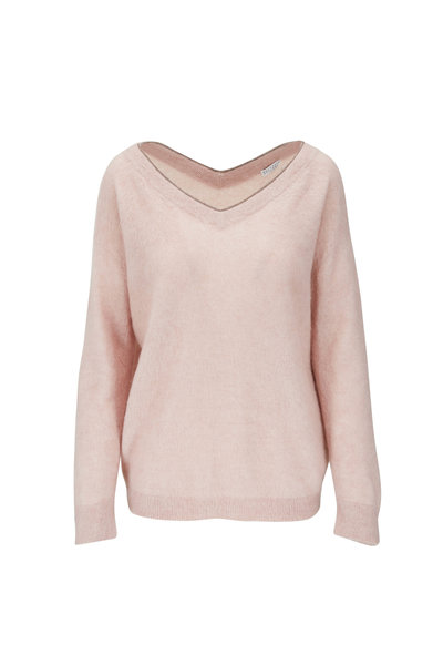 Brunello Cucinelli - Pink Mohair, Wool & Cashmere Double V-Neck Sweater