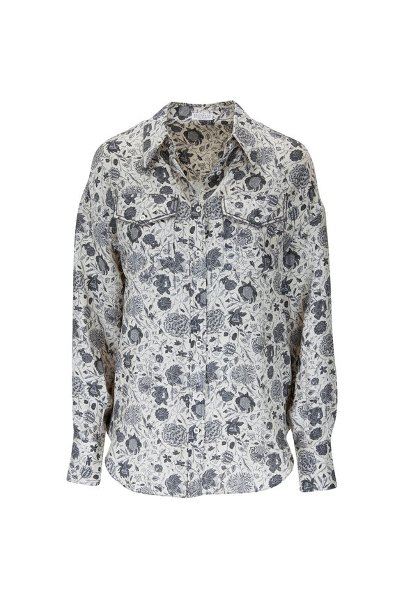 Brunello Cucinelli White & Gray Silk Paisley Print Blouse