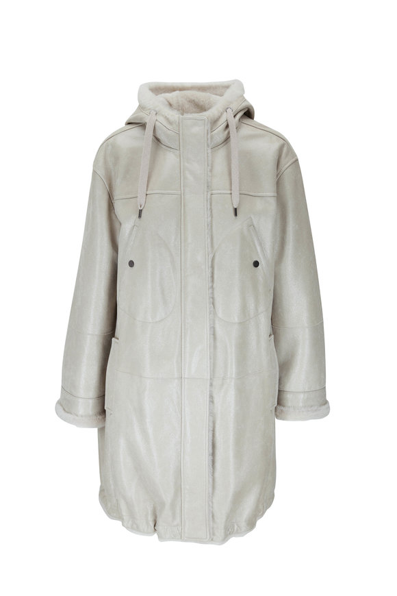 Brunello Cucinelli White Buffered Leather Hooded Shearling