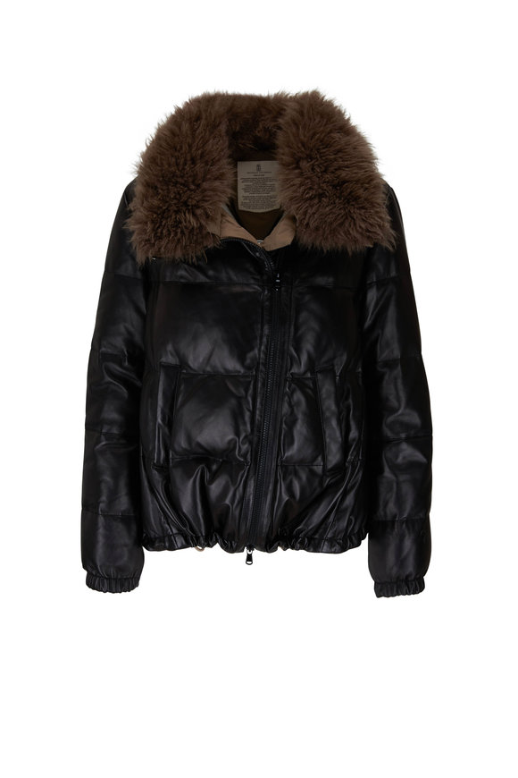 Brunello Cucinelli Black Padded Leather Puffy Coat