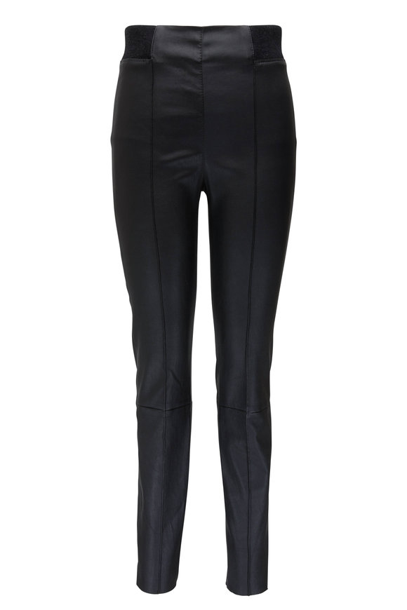 Brunello Cucinelli Black Leather & Cashmere Waist Legging