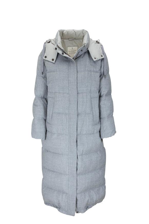 Light Gray Wool Lurex Down Puffer Coat