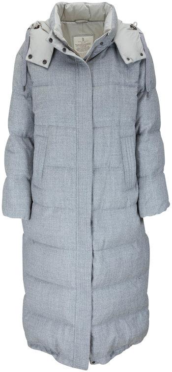 Brunello Cucinelli Light Gray Wool Lurex Down Puffer Coat