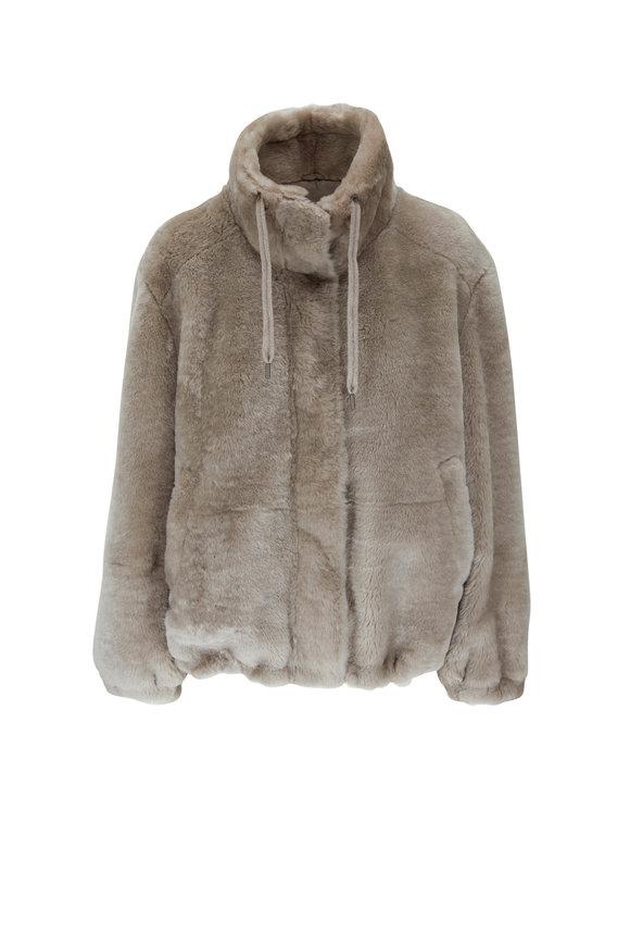 Brunello Cucinelli Light Brown Fur Funnel Neck Jacket