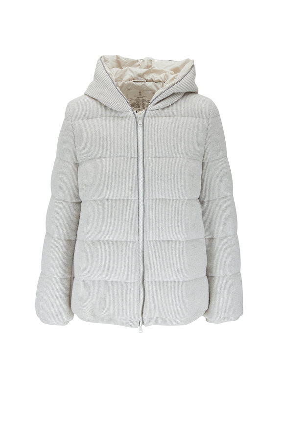 Brunello Cucinelli Pearl English Ribbed Goose Down Hoodie