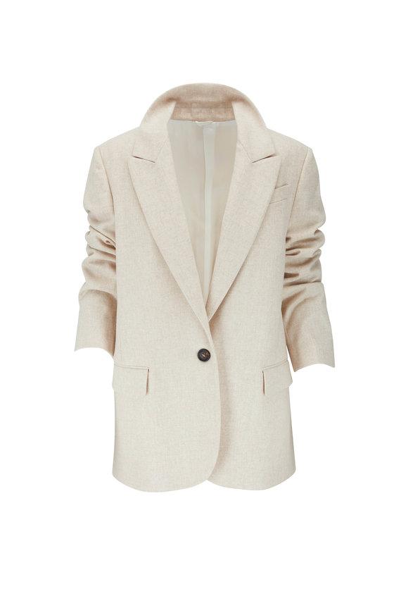 Beige Wool Flannel One Button Jacket