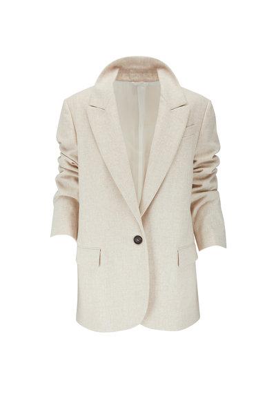 Brunello Cucinelli - Beige Wool Flannel One Button Jacket