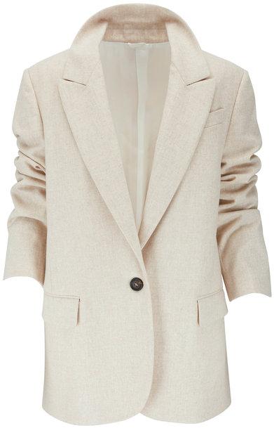 Brunello Cucinelli Beige Wool Flannel One Button Jacket