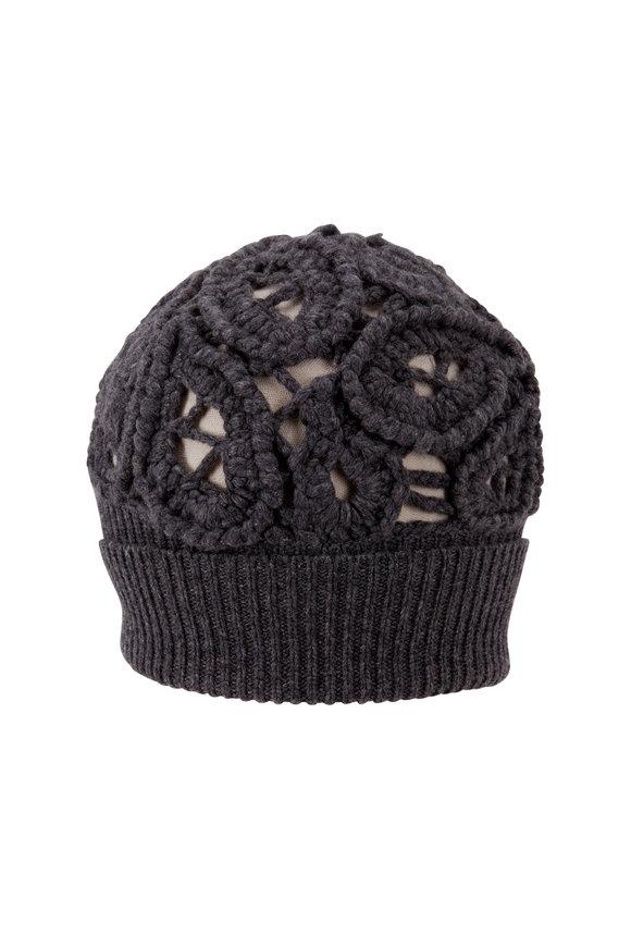 Brunello Cucinelli Charcoal Gray Cashmere Paisley Crochet Beanie