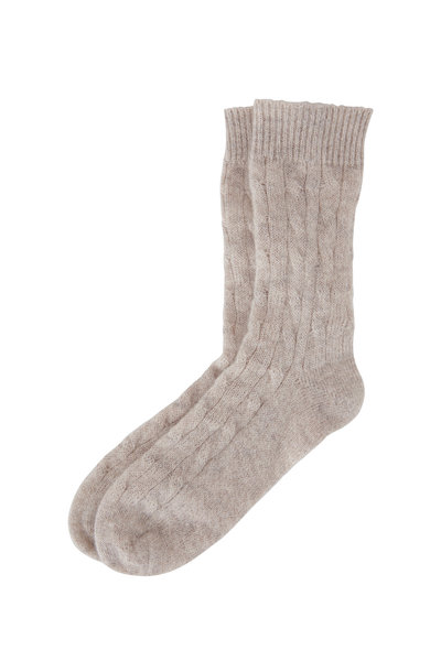 Brunello Cucinelli - Silver Mohair Lurex Cable Knit Socks