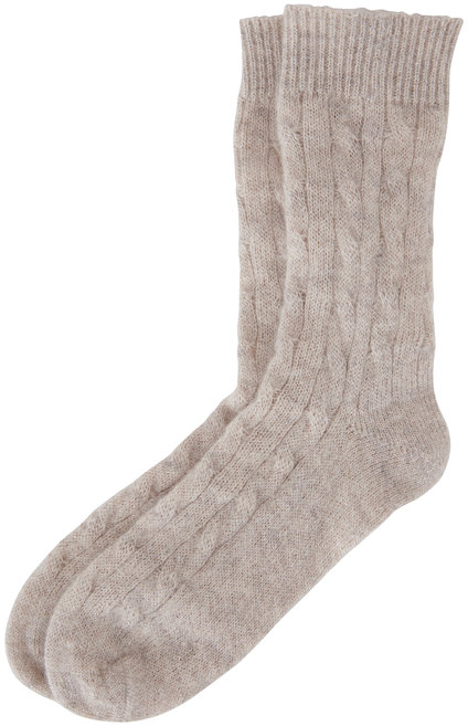 Brunello Cucinelli Silver Mohair Lurex Cable Knit Socks