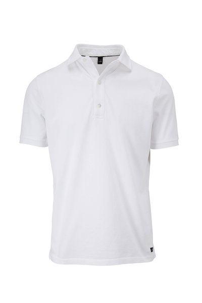WAHTS - Davis White Piqué Short Sleeve Polo