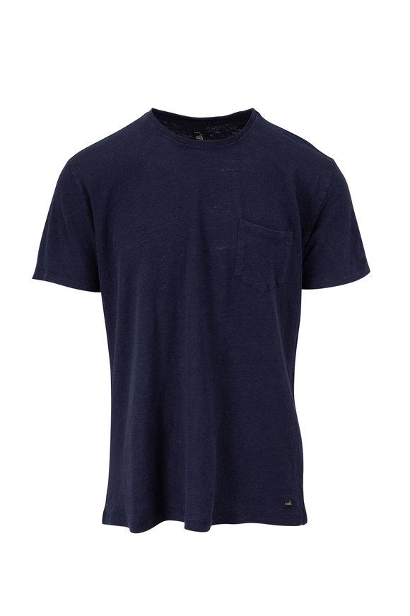 WAHTS Reese Navy Blue Linen T-Shirt