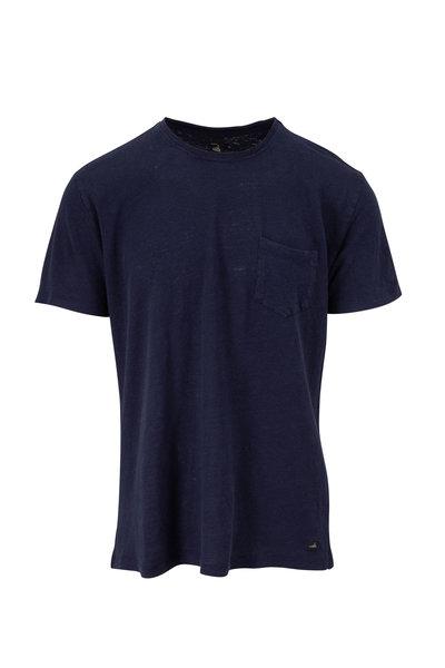 WAHTS - Reese Navy Blue Linen T-Shirt