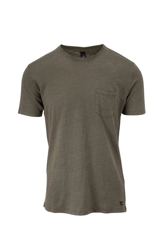 WAHTS Reese Army Green Linen T-Shirt