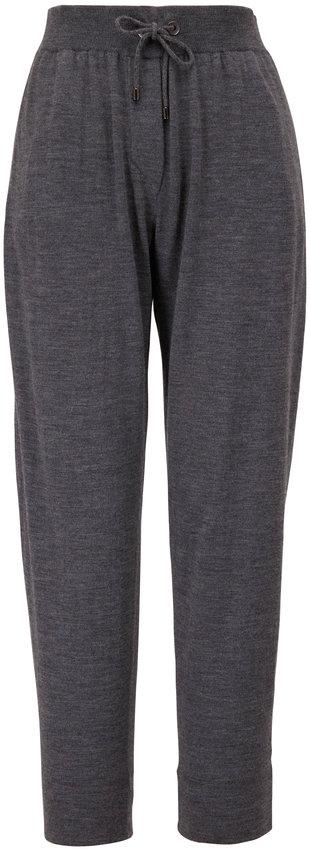 Brunello Cucinelli Charcoal Gray Cashmere & Silk Spa Pant