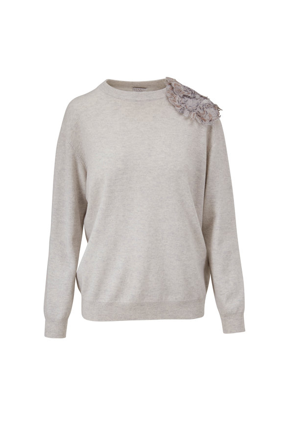 Brunello Cucinelli Fog Cashmere Paisley Appliqué Sweater