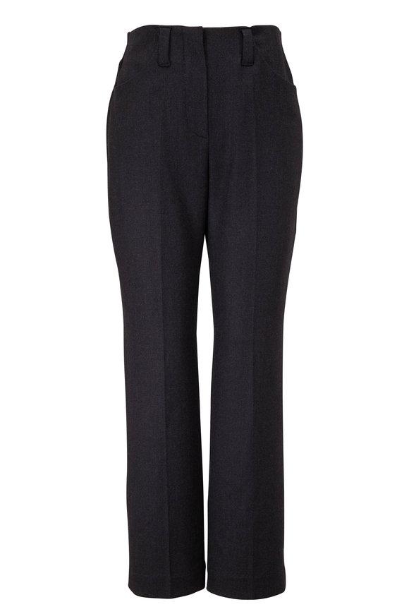 Brunello Cucinelli Dark Gray Stretch Wool Stitchless Pant
