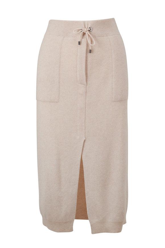 Brunello Cucinelli Shell English Rib Cashmere Drawstring Skirt