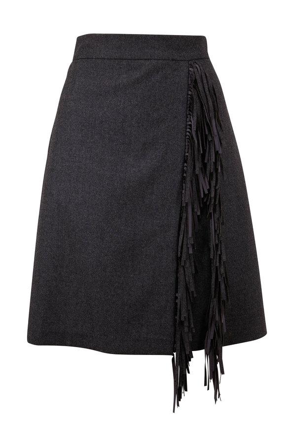 Brunello Cucinelli Anthracite Wool Flannel Fringe Trim Mini Skirt