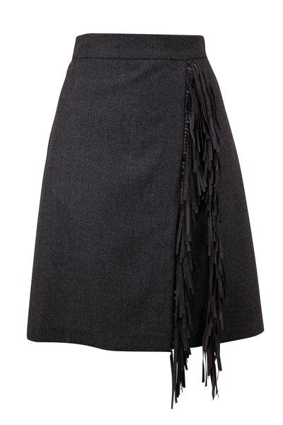 Brunello Cucinelli - Anthracite Wool Flannel Fringe Trim Mini Skirt