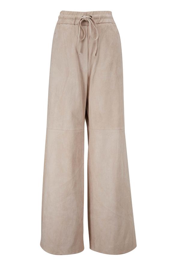 Brunello Cucinelli Seashell Suede Wide Leg Drawstring Pant