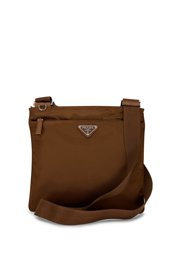 Prada Cacao Nylon Flat Zip Crossbody Bag