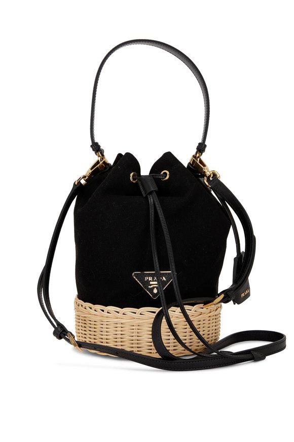 Prada Black Canvas & Natural Raffia Bucket Bag