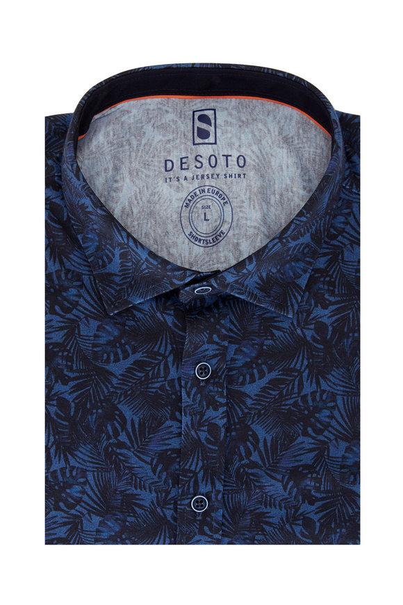 Desoto Blue Leaf Print Jersey Short Sleeve Shirt