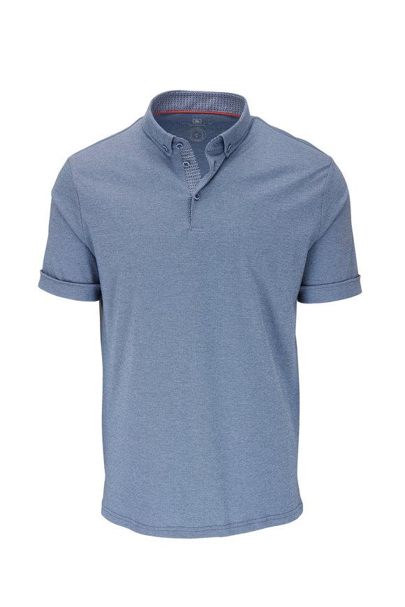 Desoto Blue Micro Stripe Short Sleeve Polo