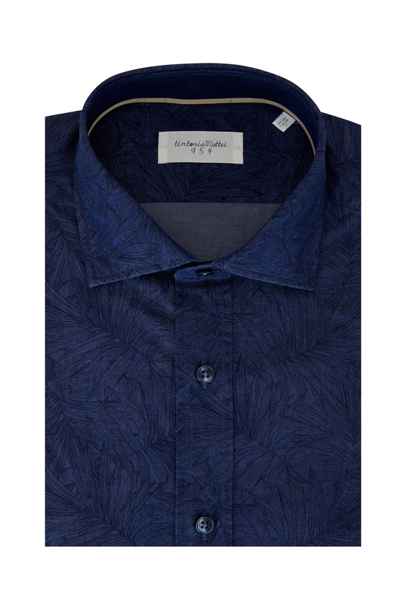 Tintoria Navy Stamped Leaves Sport Shirt