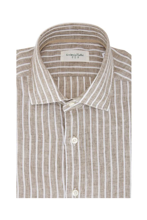 Tintoria Tan & Cream Stripe Linen Sport Shirt