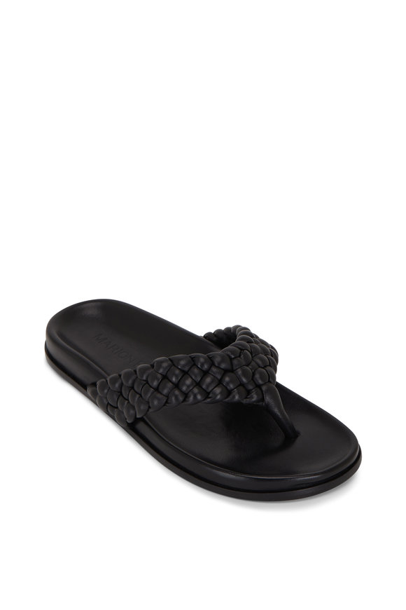 Marion Parke Carly Black Napa Leather Braided Thong Sandal