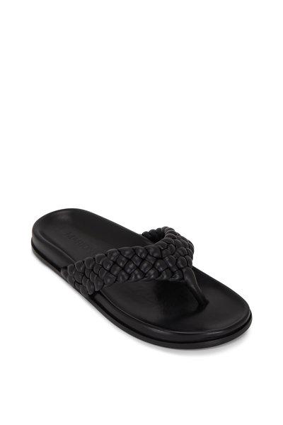 Marion Parke - Carly Black Napa Leather Braided Thong Sandal