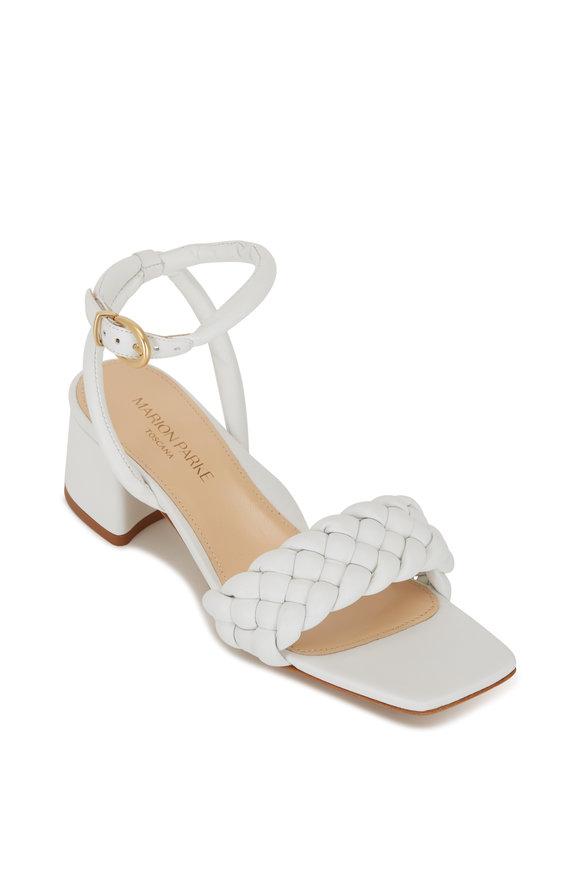 Marion Parke Iris White Leather Braid Block Heel Sandal, 60mm