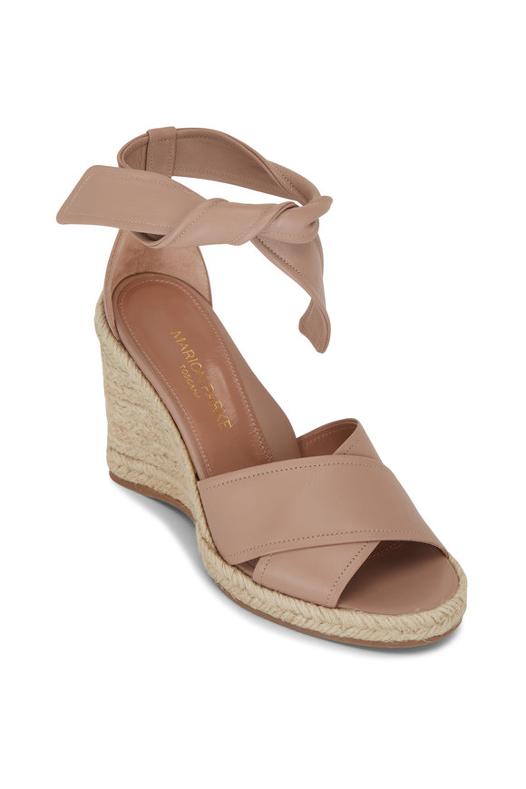 Marion Parke Leah Buff Napa Leather Wedge Sandal, 85mm