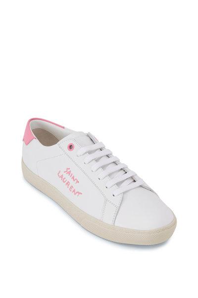 Saint Laurent - White & Pink Leather Signature Logo Sneaker