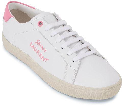Saint Laurent White & Pink Leather Signature Logo Sneaker