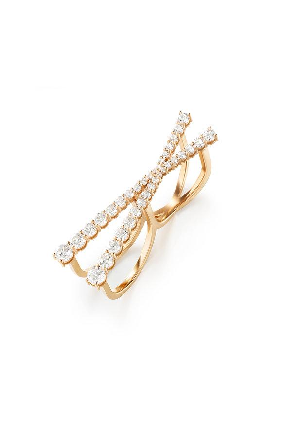 Melissa Kaye 18K Pink Gold Diamond Aria Cross Ring