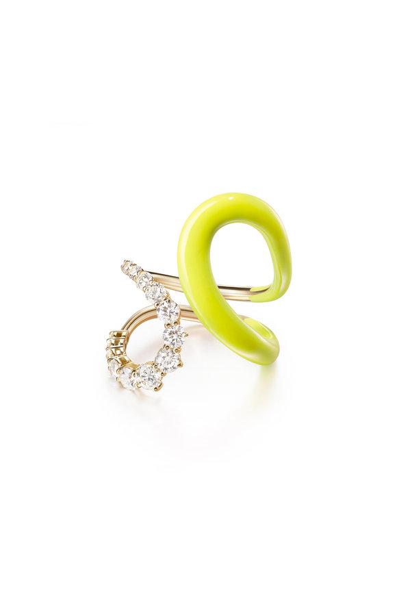 Melissa Kaye Neon Yellow Enamel Diamond Aria Jane Ring