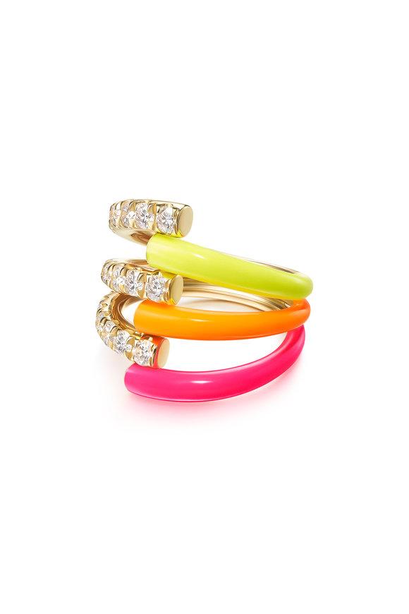 Melissa Kaye Neon Enamel Lola Triple Ring
