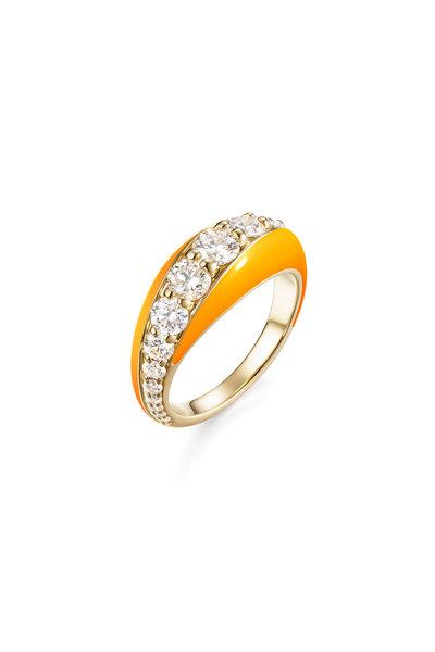 Melissa Kaye - Neon Orange Enamel Diamond Remi Ring