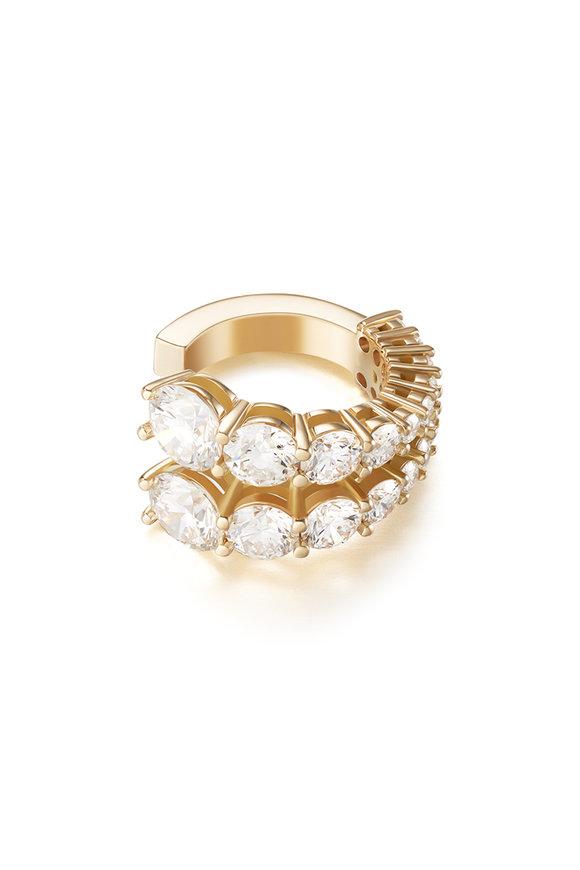 Melissa Kaye 18K Yellow Gold Diamond Aria Two Row Ear Cuff
