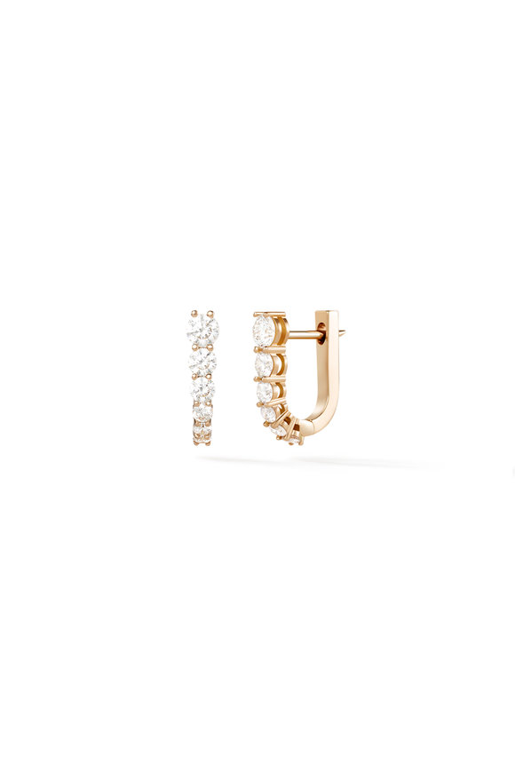 Melissa Kaye 18K Pink Gold Diamond Aria U Huggies