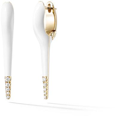 Melissa Kaye White Enamel Diamond Lola Small Needle Earrings