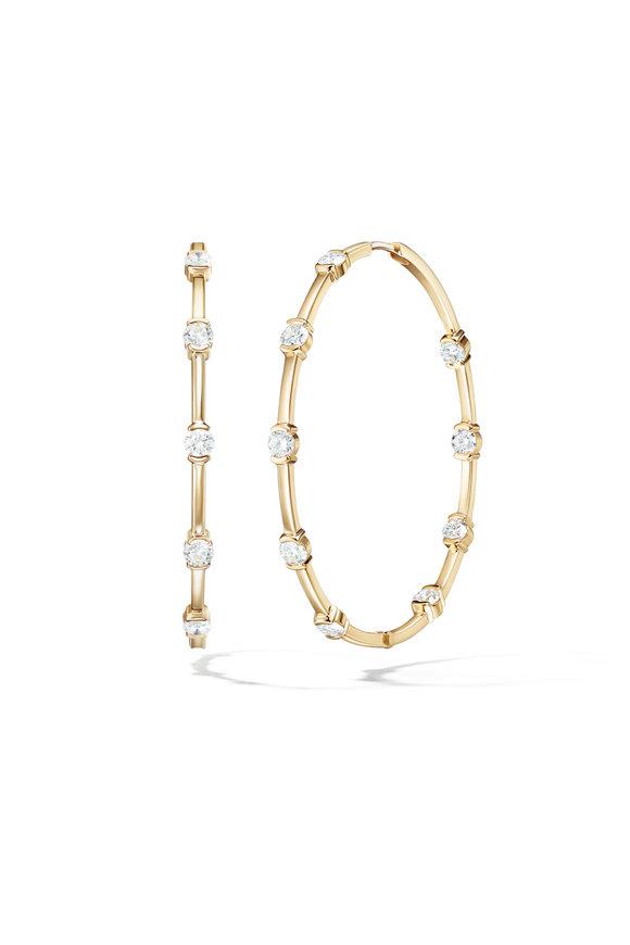 Melissa Kaye 18K Yellow Gold Diamond Zea Hoops